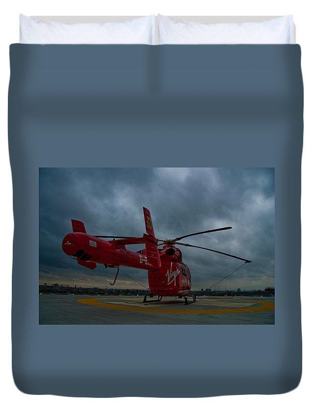 Air Ambulance Duvet Cover featuring the photograph London Air Ambulance by Dawn OConnor