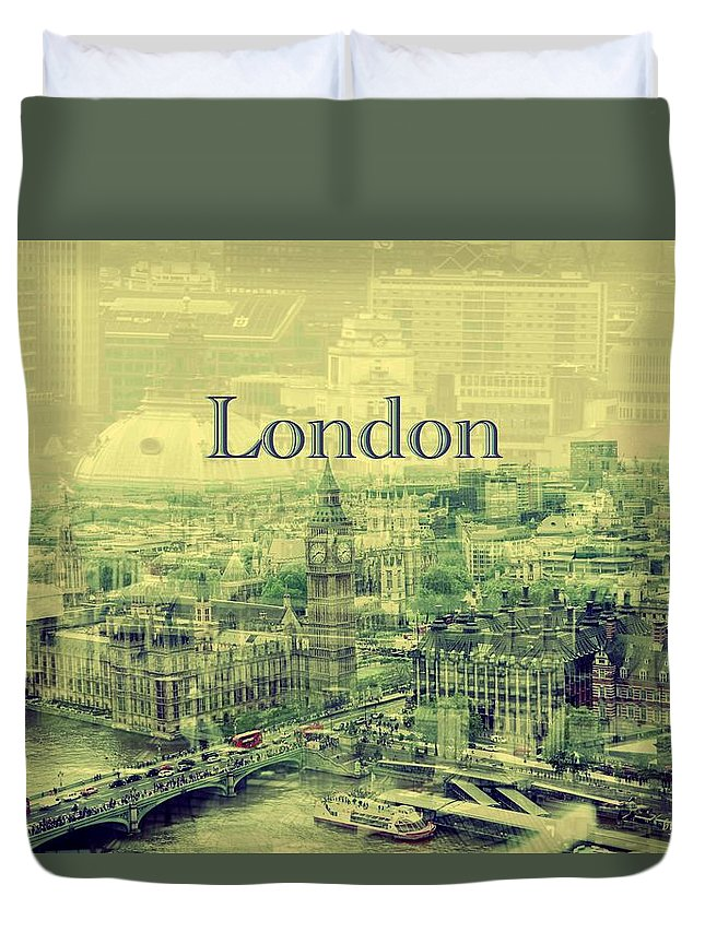 Busy London Overlay Duvet Cover featuring the photograph London Calling You Back by Karen McKenzie McAdoo