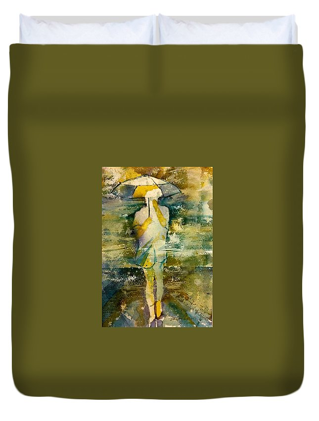 Jo Malone Duvet Cover featuring the painting London Rain Theme by Debbie Lewis