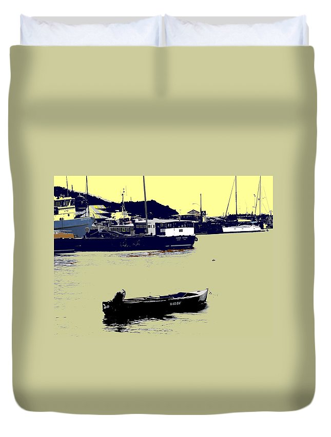 St Kitts Duvet Cover featuring the photograph Lone Boat by Ian MacDonald