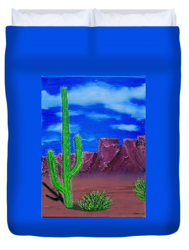 Desert Mountains Cactus West Duvet Cover featuring the painting Lone Cactus by Lawrence Booth