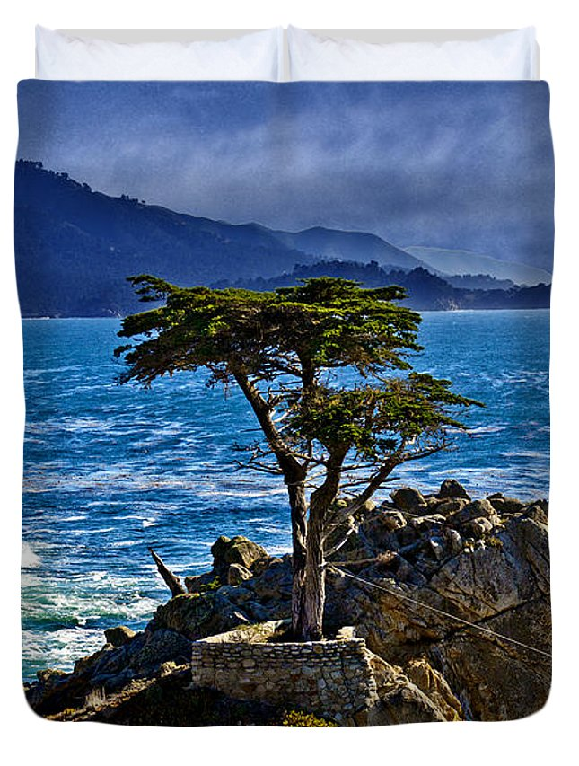 Lone Duvet Cover featuring the photograph Lone Cypress by David Davis