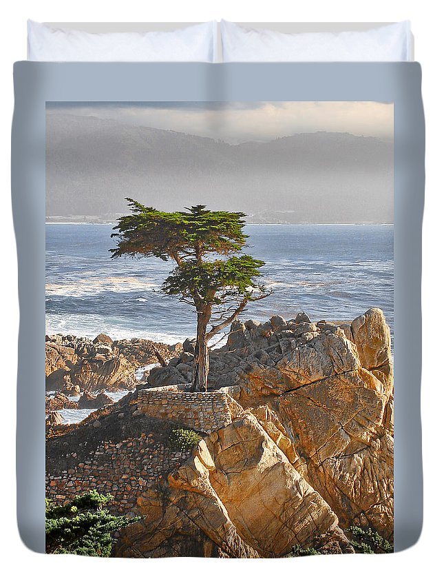 Pine Duvet Cover featuring the photograph Lone Cypress - The Icon Of Pebble Beach California by Christine Till