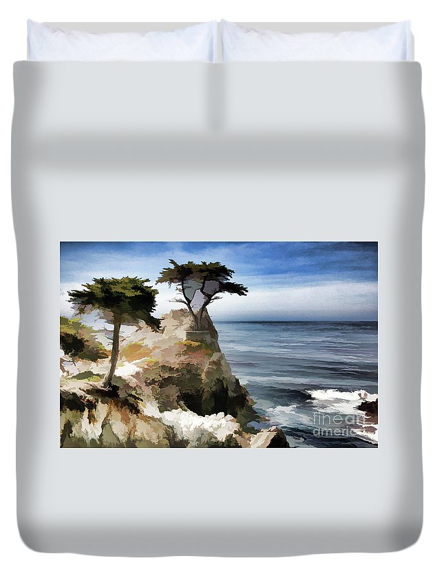 Monterey Duvet Cover featuring the photograph Lone Cypress Tree Pebble Beach by Chuck Kuhn