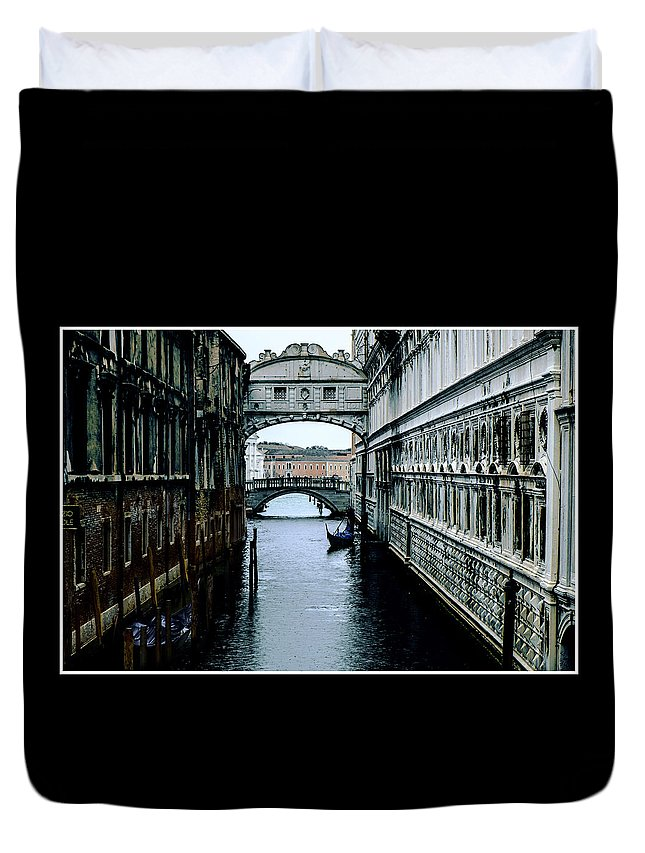 Venice Duvet Cover featuring the photograph Lone Gondola by Ian Campbell
