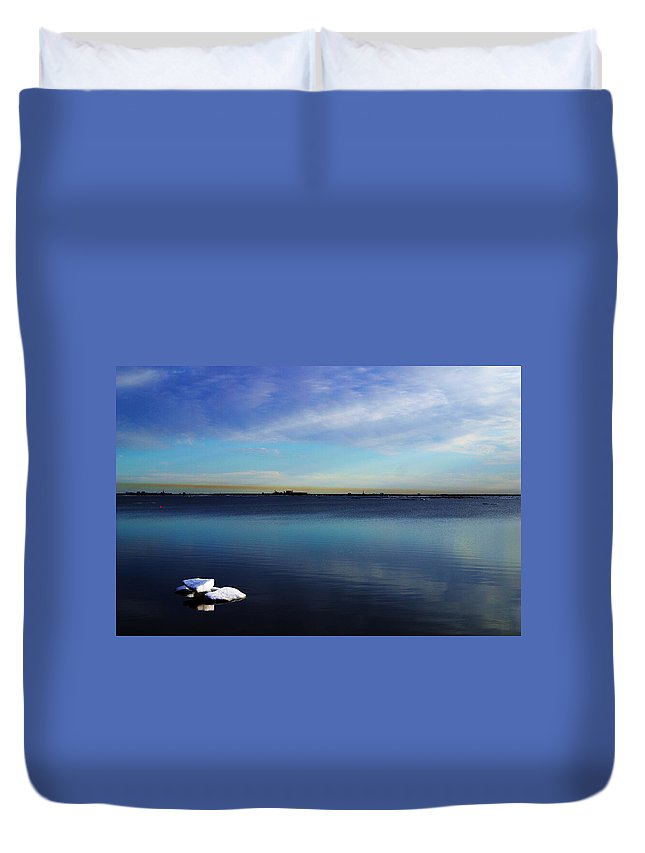 Landscape Duvet Cover featuring the photograph Lone Ice by Anthony Jones