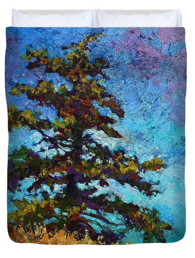 Trees Duvet Cover featuring the painting Lone Pine II by Marion Rose