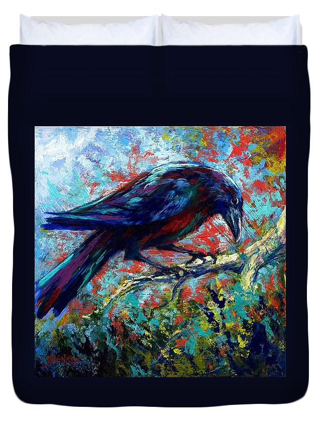 Crows Duvet Cover featuring the painting Lone Raven by Marion Rose
