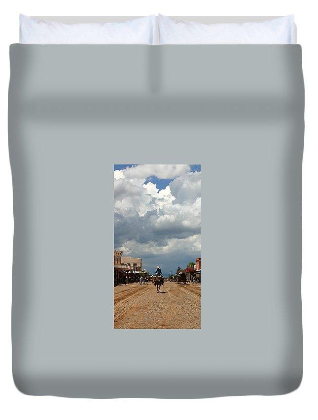 Arizona Duvet Cover featuring the photograph Lone Rider by Joe Kozlowski