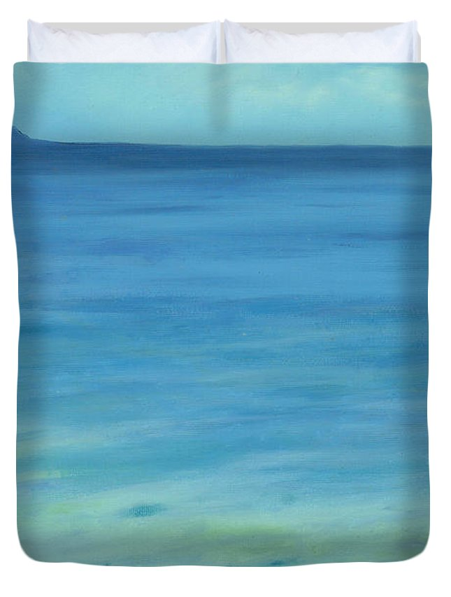 Beach Duvet Cover featuring the painting Lone Rock Beach by Victor Ambrosio