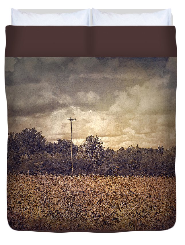 Photography Duvet Cover featuring the photograph Lone Telephone Pole In Autumn Field by Melissa D Johnston
