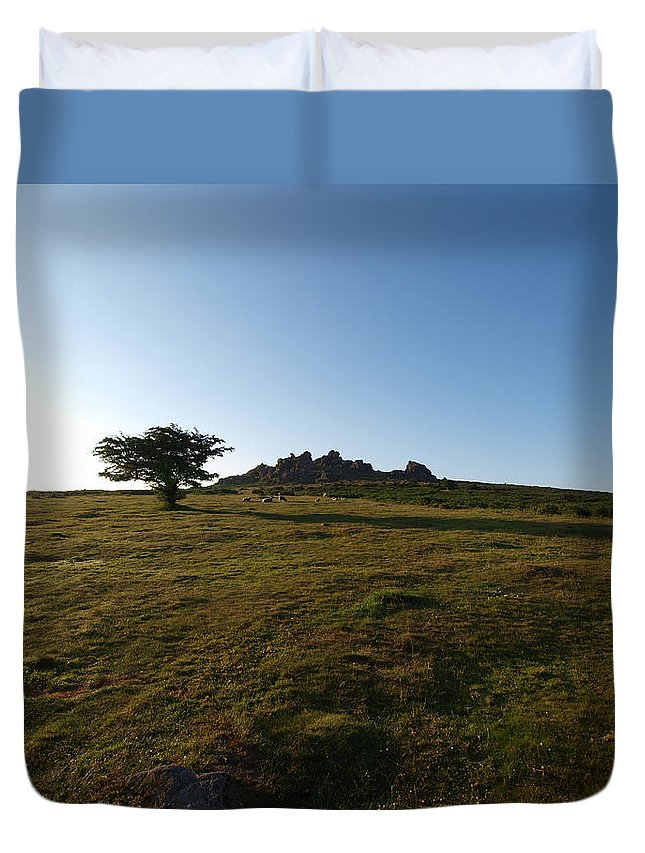 Tree Duvet Cover featuring the photograph Lone Tree, Dartmoor by Michaela Perryman