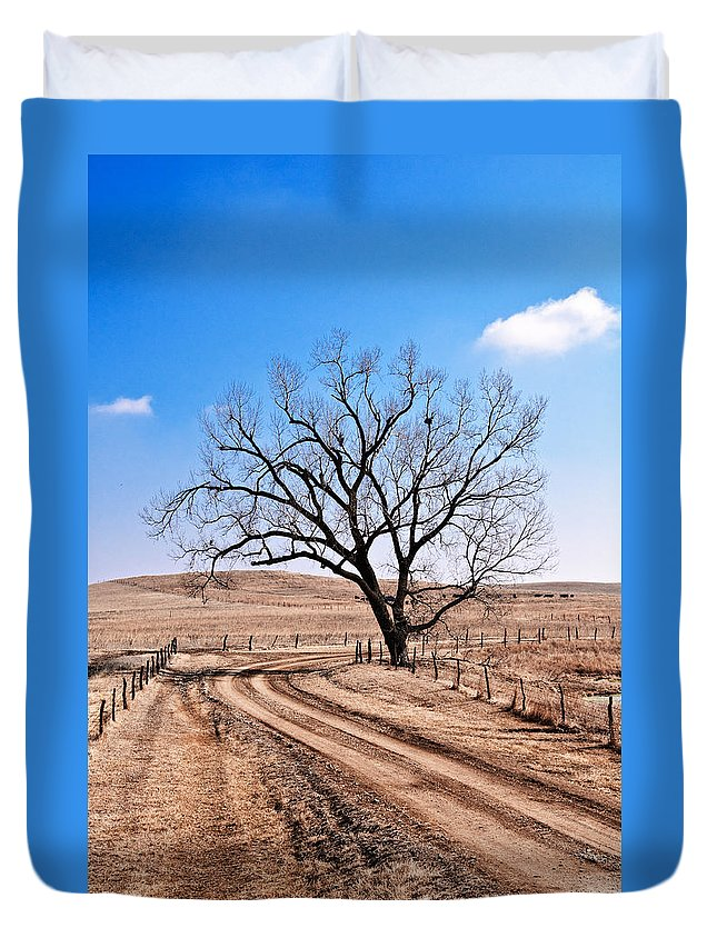Flint Hills Duvet Cover featuring the photograph Lone Tree February 2010 by Eric Benjamin
