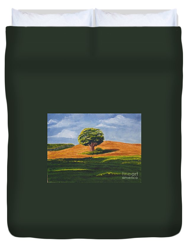Tree Duvet Cover featuring the painting Lone Tree by Mendy Pedersen