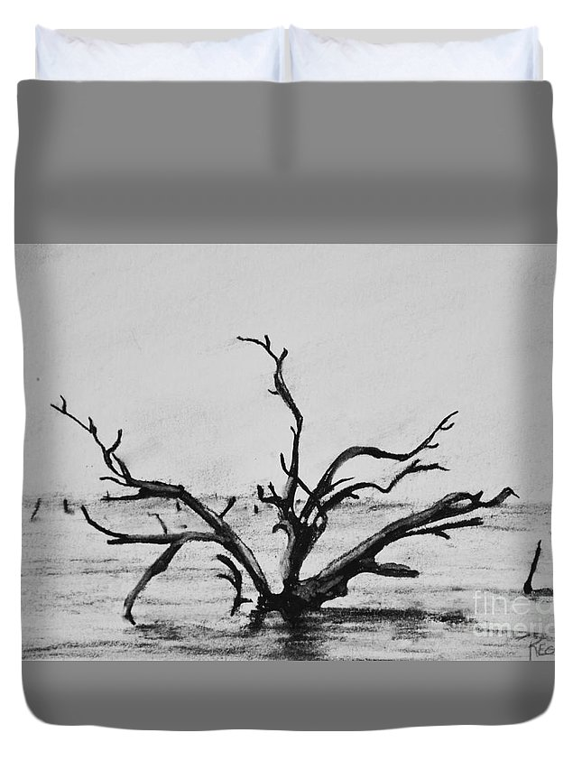Dead Trees Duvet Cover featuring the drawing Lone Tree by Regan J Smith