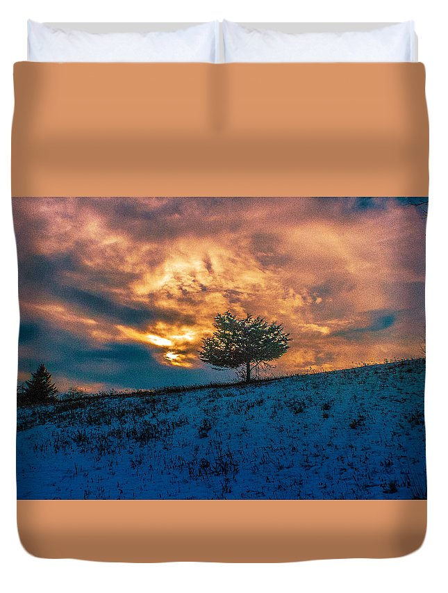 Tree Duvet Cover featuring the photograph Lone Tree by Robert Rotkowitz