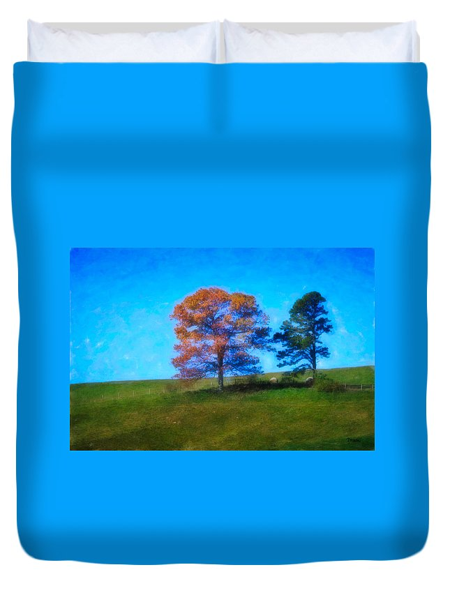 Fall Duvet Cover featuring the digital art Lone Trees Painting by Teresa Mucha