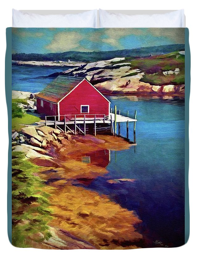 Wharf Duvet Cover featuring the painting Lone Wharf by Jeffrey Kolker