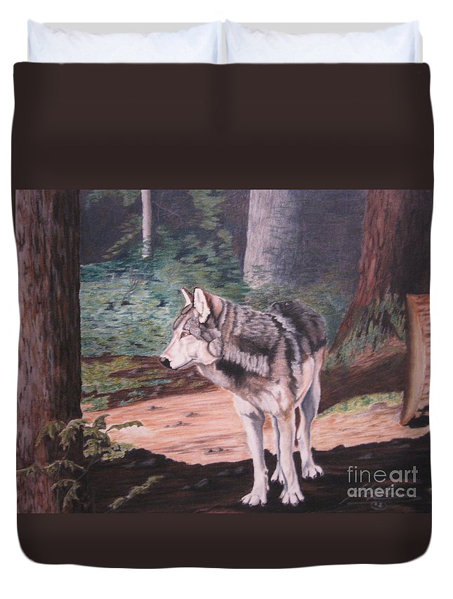 Grey Wolf Duvet Cover featuring the pastel Lone Wolf by John Huntsman