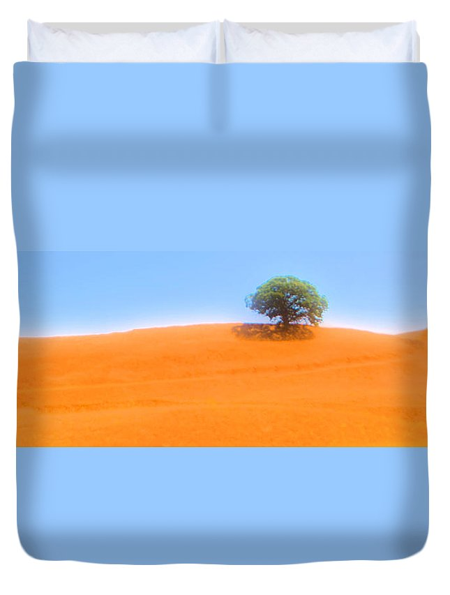 Hillside Duvet Cover featuring the photograph Lonely At The Top by Josephine Buschman