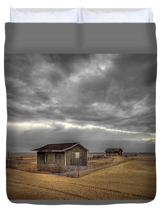 Beach Duvet Cover featuring the photograph Lonely Beach Shacks by Evelina Kremsdorf
