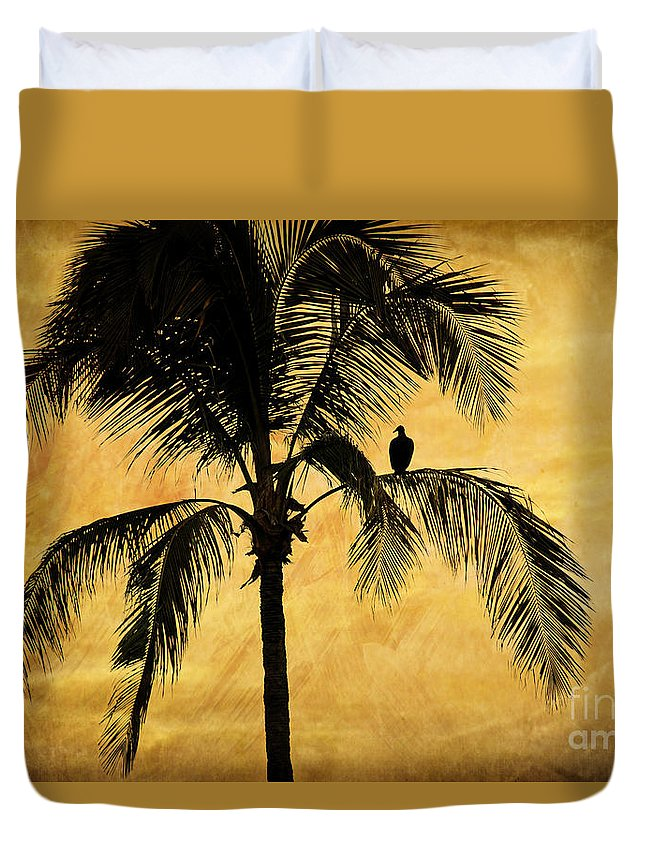 Palm Tree Duvet Cover featuring the photograph Lonely Bird by Iris Greenwell