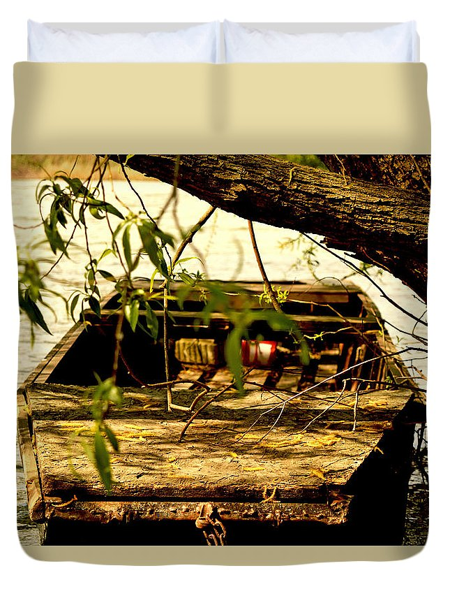 Duna Duvet Cover featuring the photograph Lonely Boat by Zoltan Komlosi