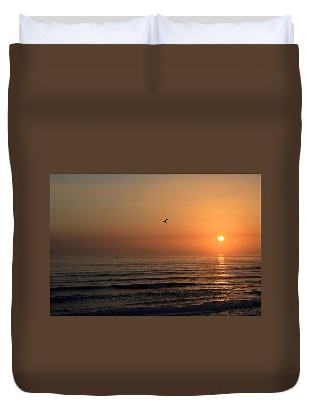 Bird Fly Flight Gull Alone Sun Sunrise Sky Ocean Wave Reflection Nature Golden Gold Duvet Cover featuring the photograph Lonely Flight by Andrei Shliakhau