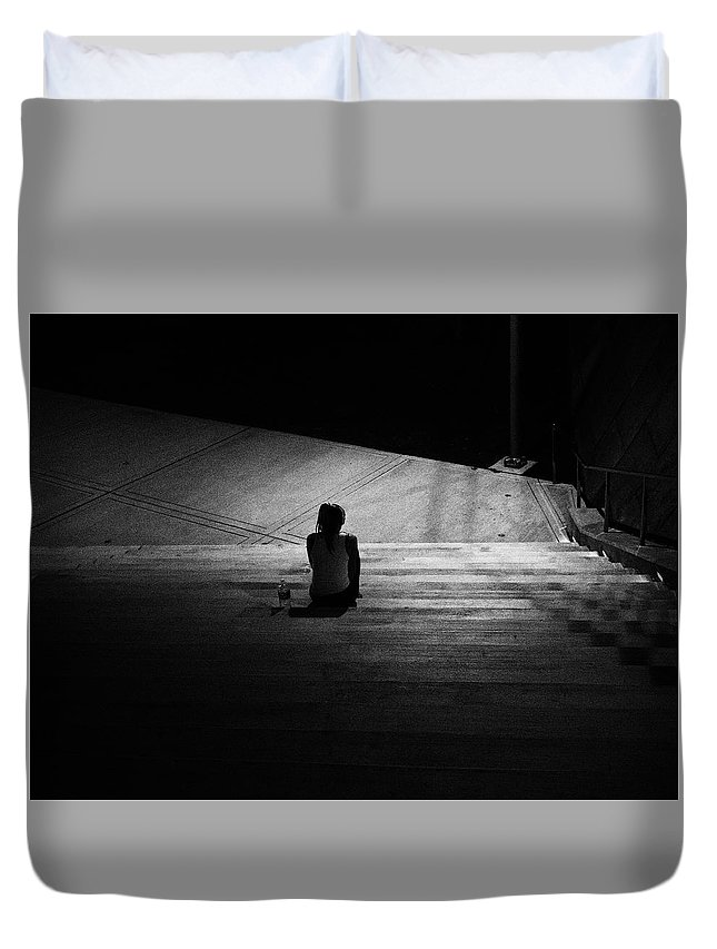 Night Duvet Cover featuring the photograph Lonely by Joseph Shbair