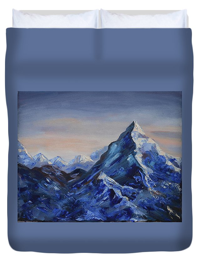 Painting Duvet Cover featuring the painting Lonely Mountain Cliff by M B