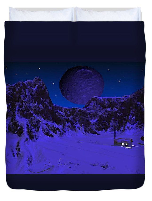 Science Fiction Duvet Cover featuring the digital art Lonely Outpost by Bob Shimer