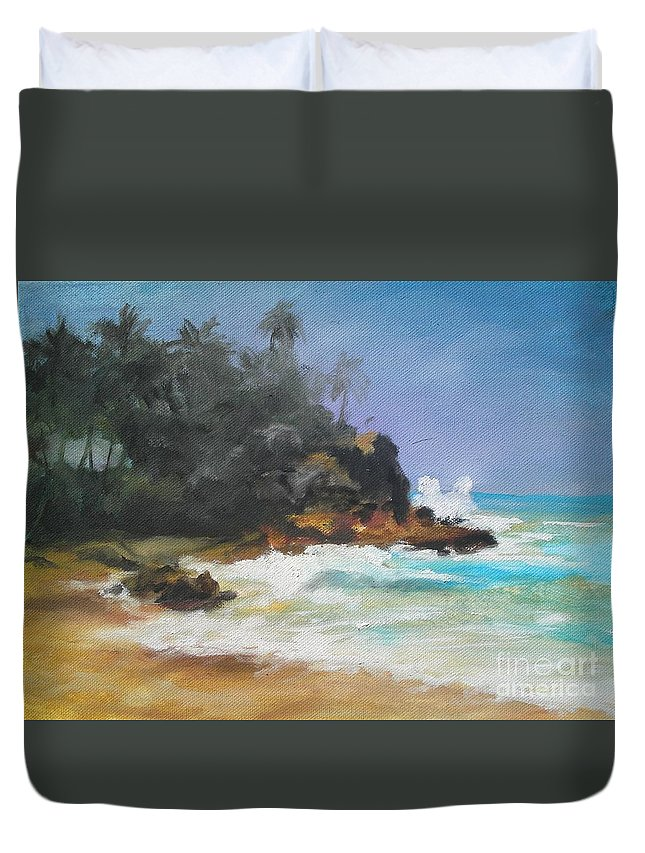 Seascape Duvet Cover featuring the painting Lonely Sea by Rushan Ruzaick