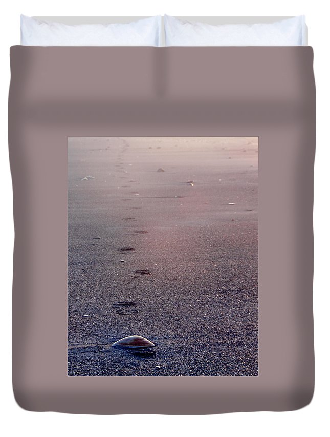 Seashell Duvet Cover featuring the photograph Lonely by Steven Natanson