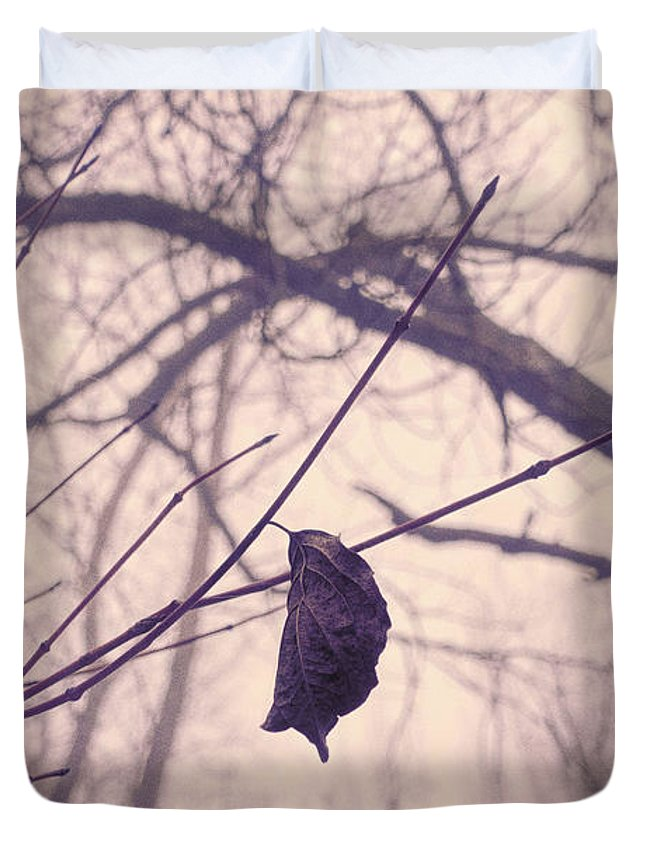 Winter Duvet Cover featuring the photograph Lonely Winter Leaf by Antique Images
