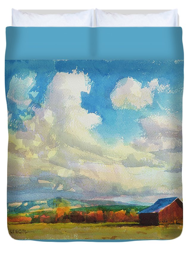 Country Duvet Cover featuring the painting Lonesome Barn by Steve Henderson