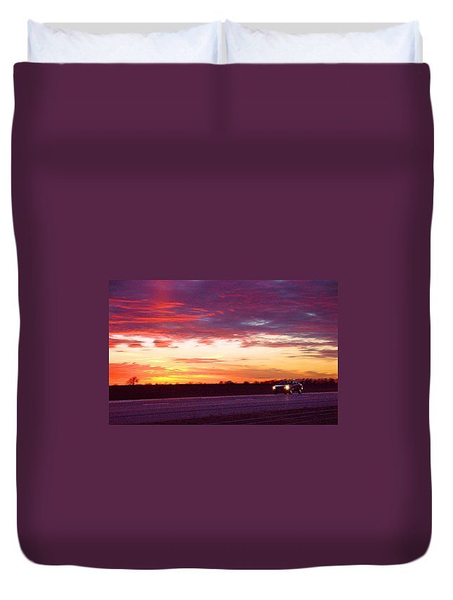 Landscape Duvet Cover featuring the photograph Lonesome Highway by Steve Karol