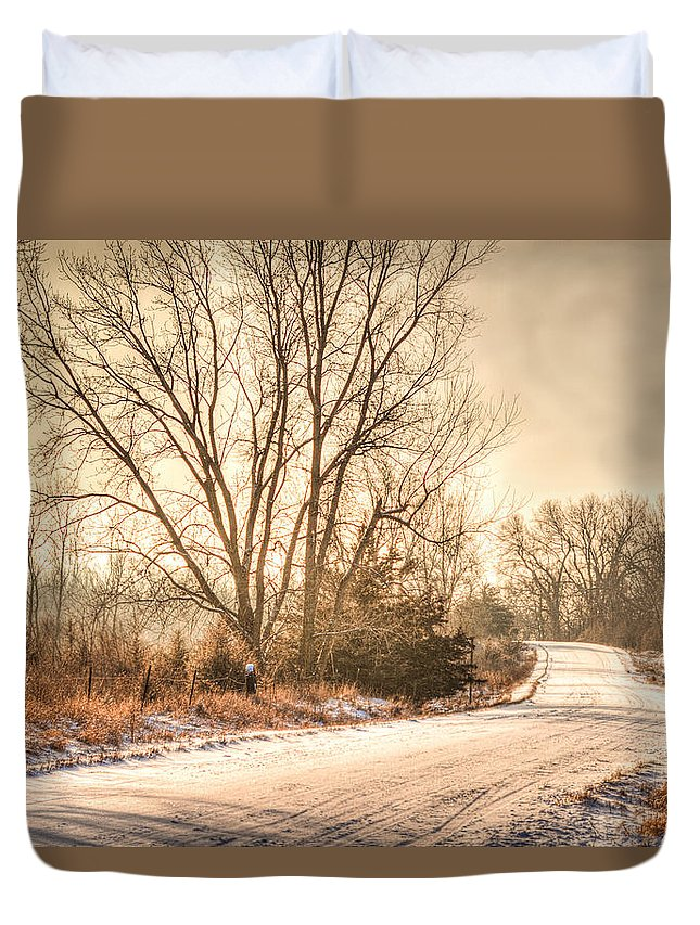 Winter Duvet Cover featuring the photograph Lonesome Road by Mark Pearson