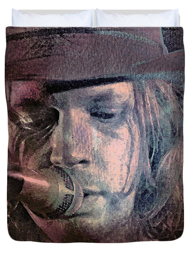 Beck Duvet Cover featuring the mixed media Lonesome Tears by Mal Bray