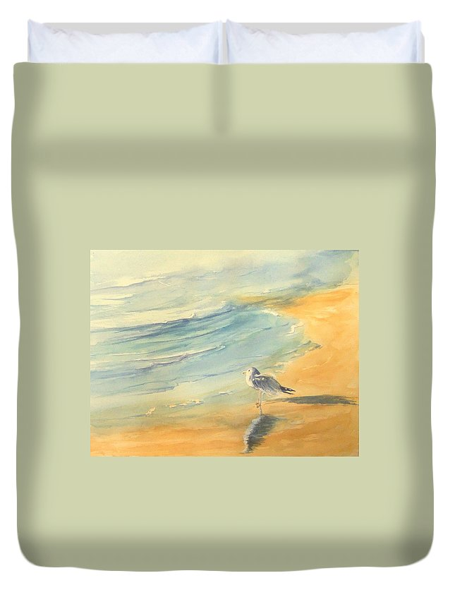 Watercolor Duvet Cover featuring the painting Long Beach Bird by Debbie Lewis