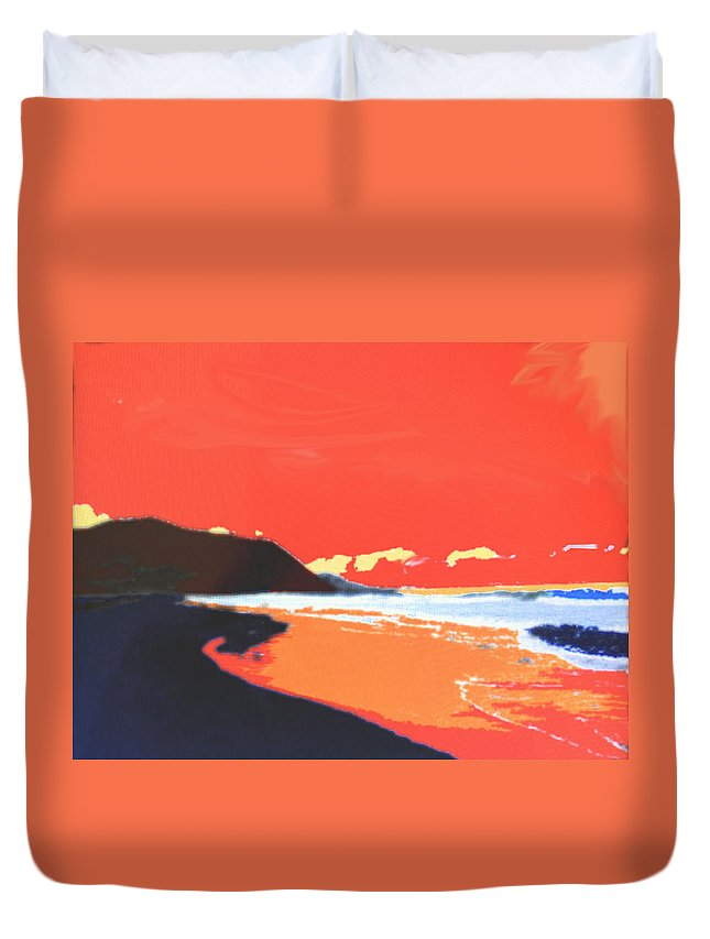 Beach Duvet Cover featuring the digital art Long Blue Beach by Ian MacDonald