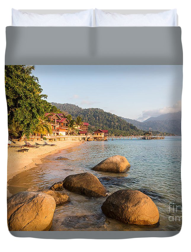 Malaysia Duvet Cover featuring the photograph Long Chairs On A Beach In Pulau Tioman, Malaysia by Didier Marti