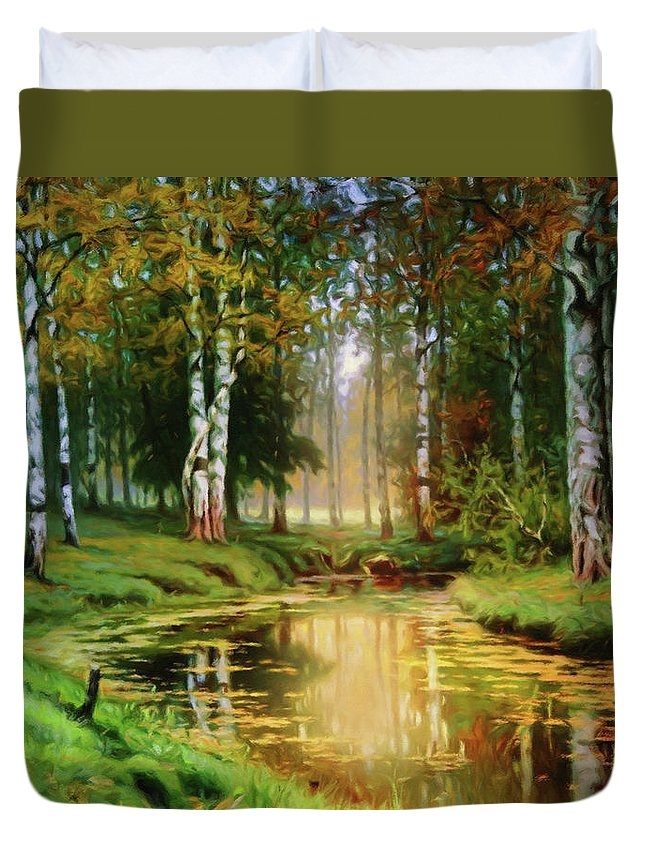 Long Indian Summer In The Woods Duvet Cover featuring the mixed media Long Indian Summer In The Woods by Georgiana Romanovna