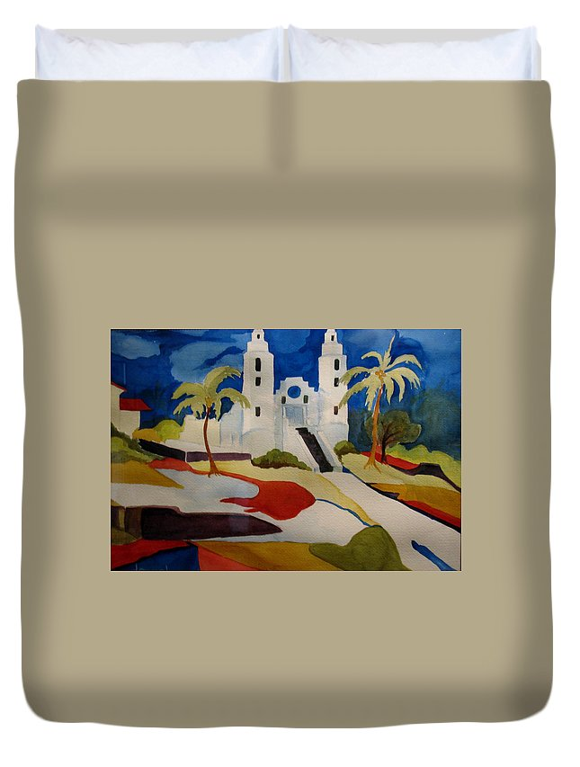 Watercolor Duvet Cover featuring the painting Long Island Church by Donna Steward