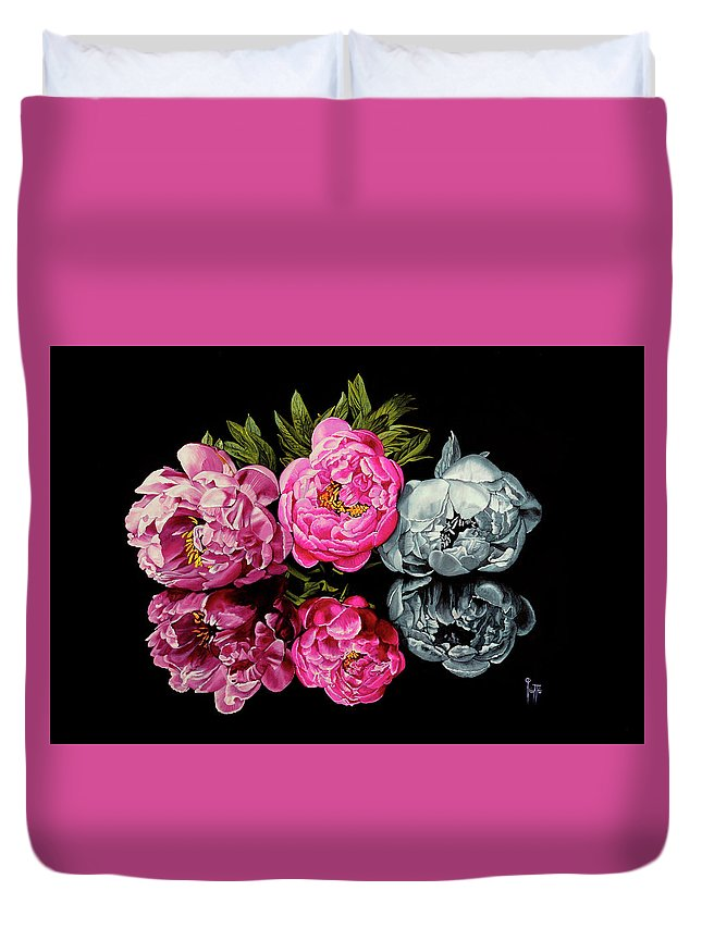 Flower Duvet Cover featuring the painting Long Life, Honor And Wealth Has Variable Colors by Jette Van der Lende