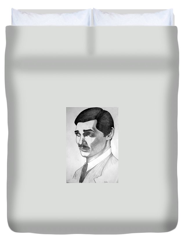 Portrait Duvet Cover featuring the drawing Long Live the King by Marco Morales