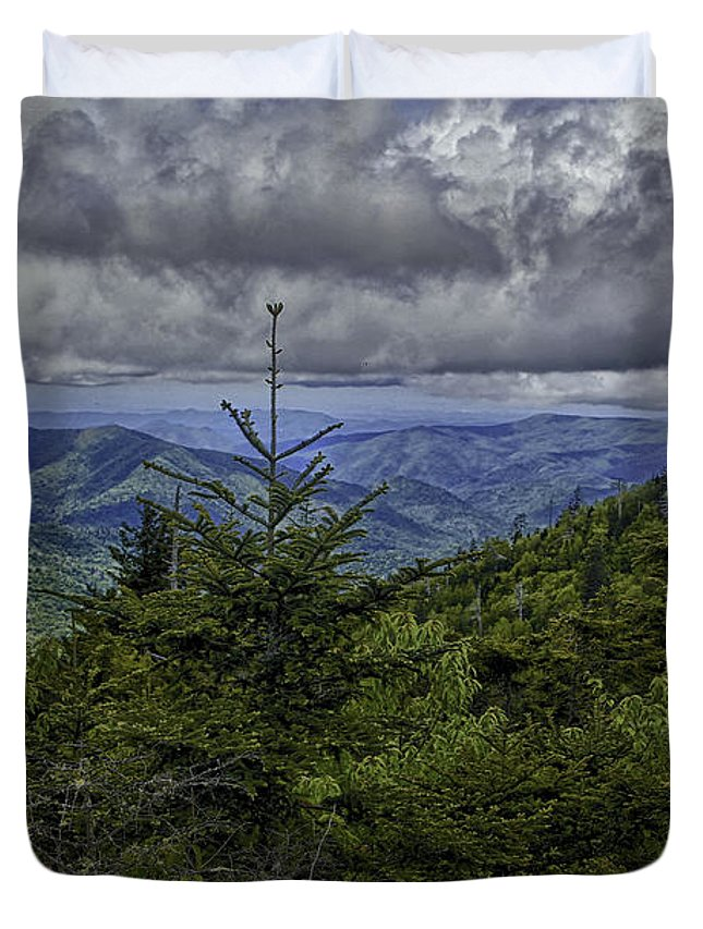 Magnolia Duvet Cover featuring the photograph Long Misty Days by Michael J Samuels