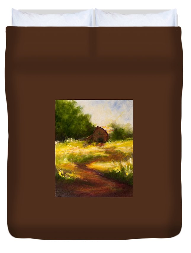 Landscape Duvet Cover featuring the painting Long Road Home by Shannon Grissom