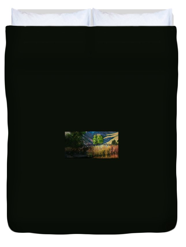 Landscape Duvet Cover featuring the painting Long Shadows by Stephen King