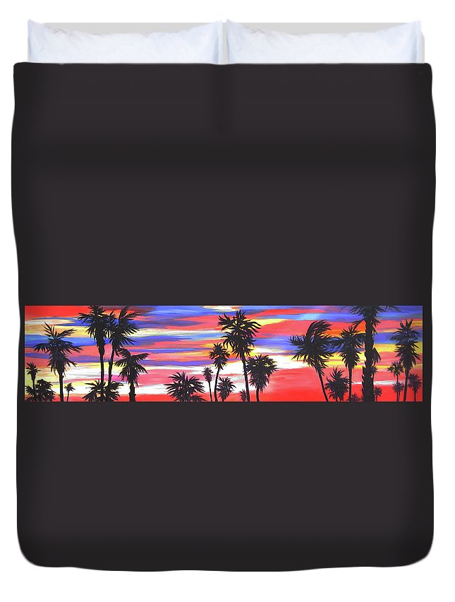 Sunset Duvet Cover featuring the painting Long Skinny Sunset by Anne Marie Brown