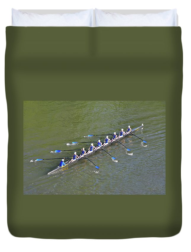 Bill Duvet Cover featuring the photograph Longboat - Rowing On The Schuylkill River by Bill Cannon